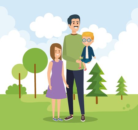 happy man with his daughter and son with trees vector illustration