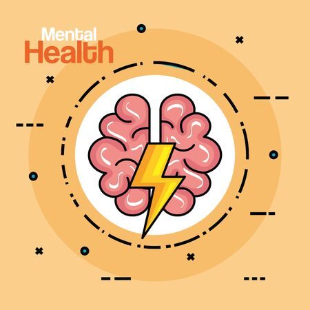 label with health brain creative with thunder vector illustration