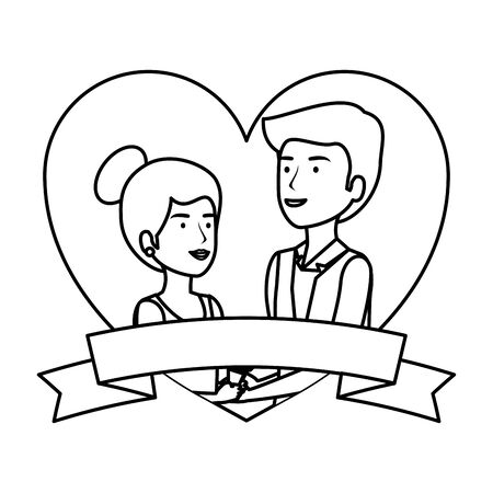 recently married couple in heart frame vector illustration design