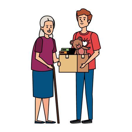 man volunteer giving a old woman donations box vector illustration design