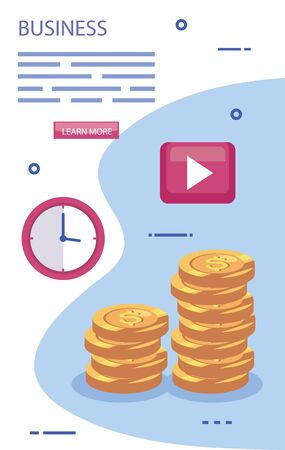 pile of coins with set business icons vector illustration design Stok Fotoğraf - 134859758