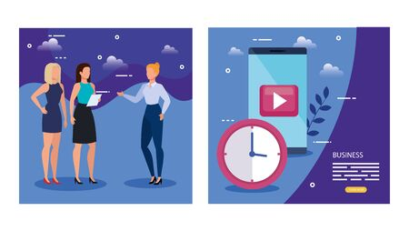 smartphone device with play symbol and business women vector illustration design Stok Fotoğraf - 134721263