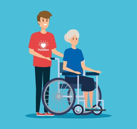 boy volunteer and old woman in the wheelchair vector illustration Illustration