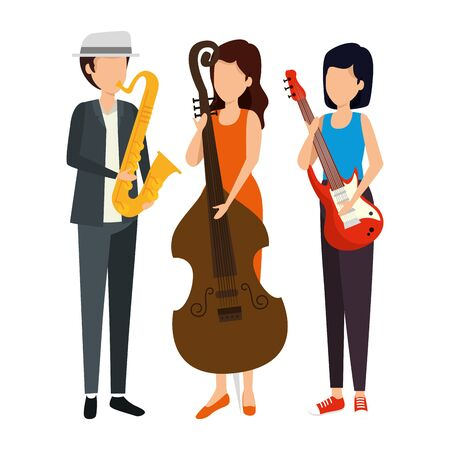 musical group playing instruments vector illustration design 일러스트