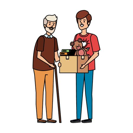 man volunteer giving a old man donations box vector illustration design