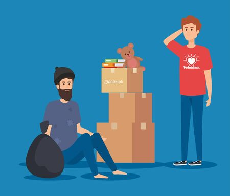 boy volunteer with boxes donation and indigent vector illustration