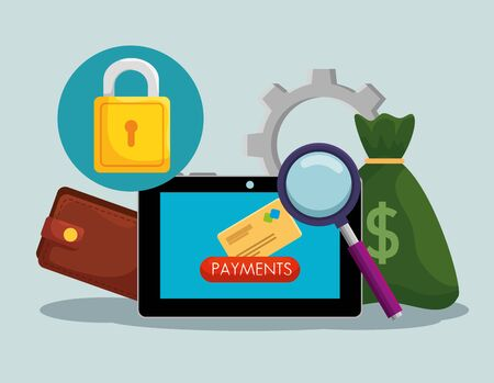 tablet with money bag and wallet with padlock security vector illustration 向量圖像
