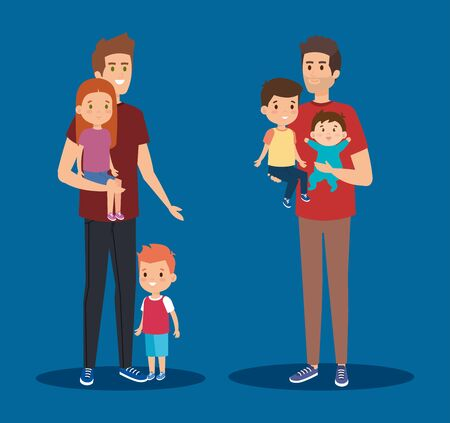 cute men friends with their daughter and sons vector illustration Çizim