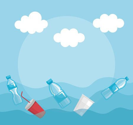 plastics bottles and cups pollution in the sea vector illustration Stock Vector - 134726183