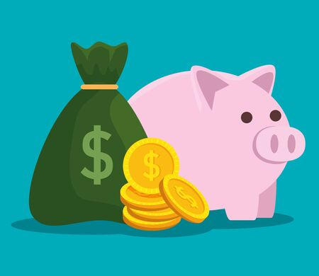 piggy with coins currency and business bag money vector illustration