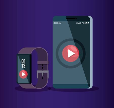 smartphone and smartwatch technology with video social app vector illustration Stok Fotoğraf - 134732964