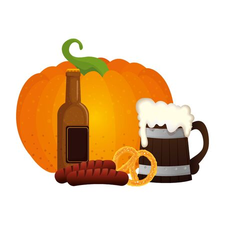 Oktoberfest beer pumpkin and sausage design, Germany festival celebration europe landmark munich culture and party theme Vector illustration Иллюстрация