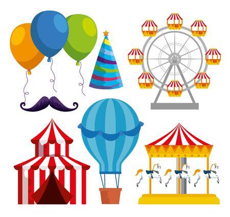 set of carnival traditional decoration to festival celebration vector illustration