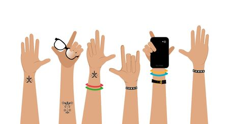 set of hands punk style vector illustration design