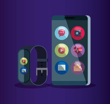 smartphone and smartwatch technology with social digital app vector illustration Stok Fotoğraf - 134737386