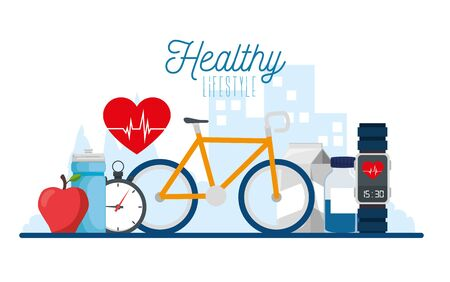 poster healthy lifestyle with bike and icons vector illustration design Illustration