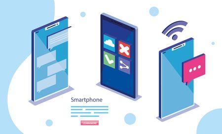 Smartphones design, Digital technology communication social media internet and web theme Vector illustration Ilustração