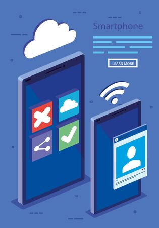 Smartphones design, Digital technology communication social media internet and web theme Vector illustration Illustration