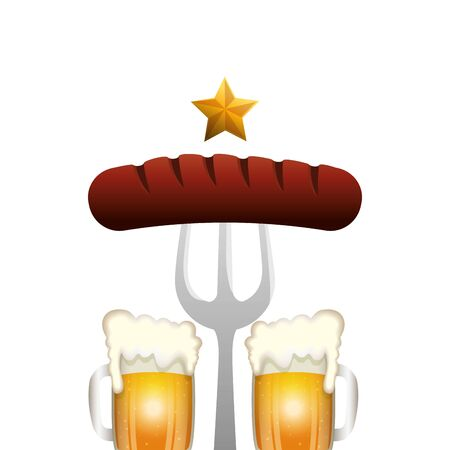 Oktoberfest beer and sausage design, Germany festival celebration europe landmark munich culture and party theme Vector illustration