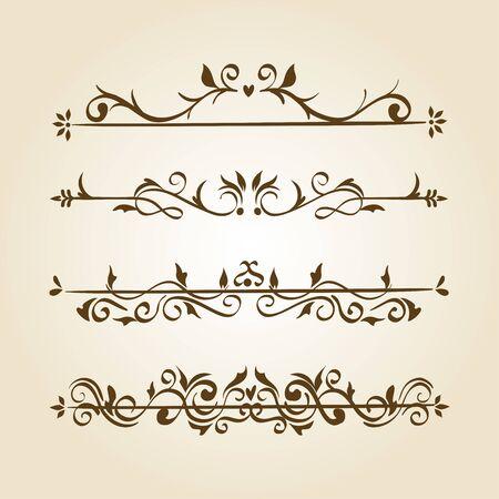 bundle of elegant ornamental borders frames vector illustration design