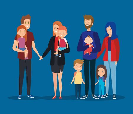 fathers and mothers friends with their sons and daughters vector illustration