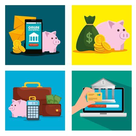 set of digital busisness transaction to online banking vector illustration