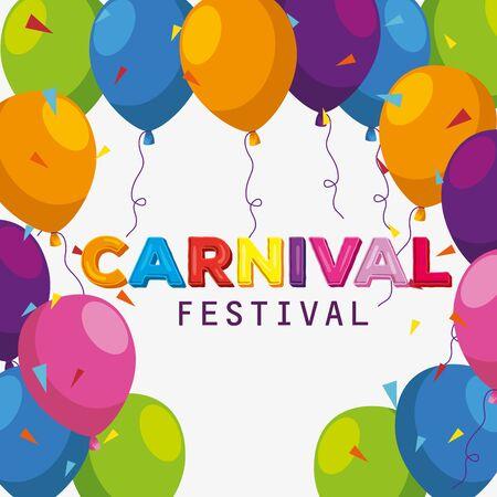 festival balloons decoration to carnival celebration vector illustration
