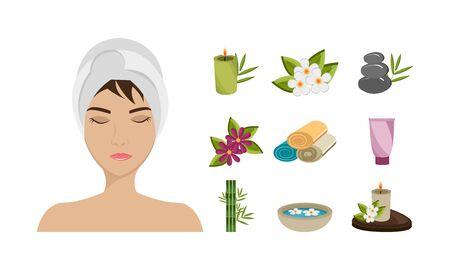 bundle spa therapy set icons vector illustration design Illustration