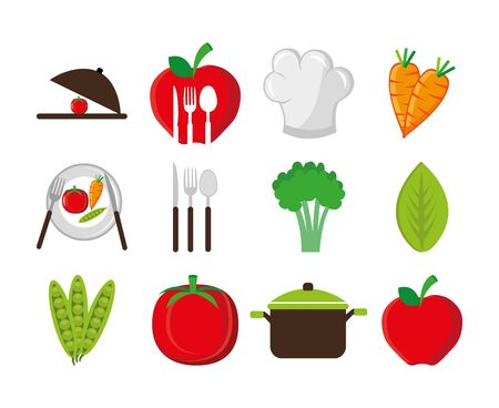 set of cutlery with vegetables and icons vector illustration design Archivio Fotografico - 134859822