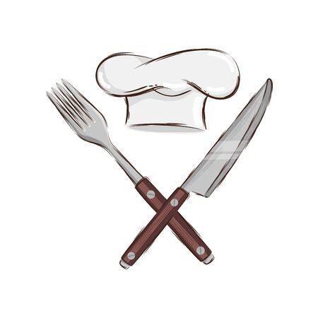 fork with knife cutlery and hat chef isolated icon vector illustration design