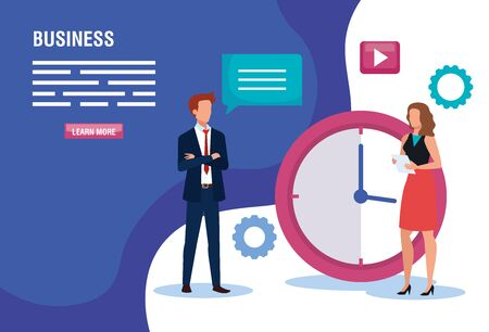 business couple with clock and icons vector illustration design Stok Fotoğraf - 134859825