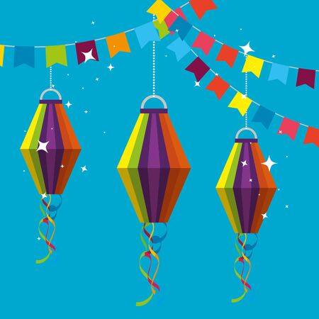 bannière de fête avec des lanternes suspendues à l'illustration vectorielle de festa junina Vecteurs