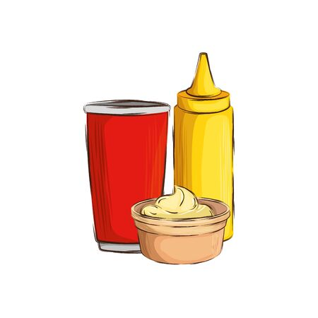 set of delicious sauces with drink isolated icon vector illustration design