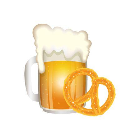 Oktoberfest beer and pretzel design, Germany festival celebration europe landmark munich culture and party theme Vector illustration Иллюстрация