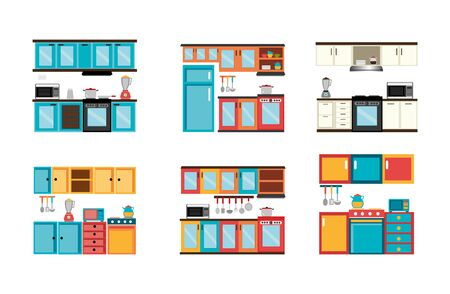 integral kitchen front scenes icons vector illustration design  イラスト・ベクター素材