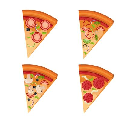 bundle of delicious pizza and portions vector illustration design 일러스트