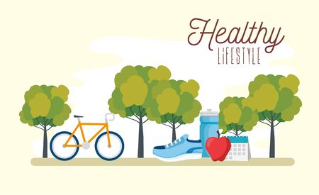 poster healthy lifestyle with bike and icons vector illustration design Stock Vector - 134739199