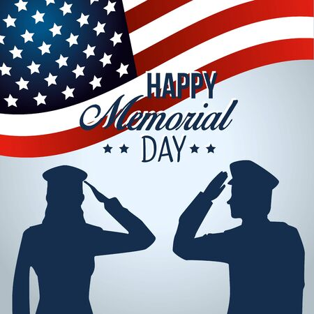 patriotic soldiers with usa flag to memorial day vector illustration
