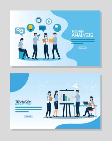 teamwork set scenes of analysis infographic vector illustration design Stock Vector - 134739203