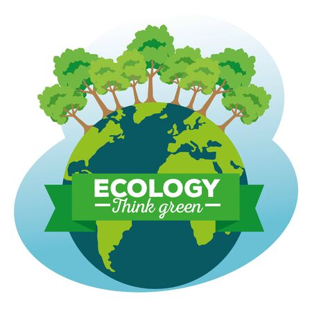 earth planet with ecology trees and ribbon vector illustration