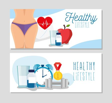 set poster of healthy lifestyle with icons vector illustration design Stock Vector - 134753386