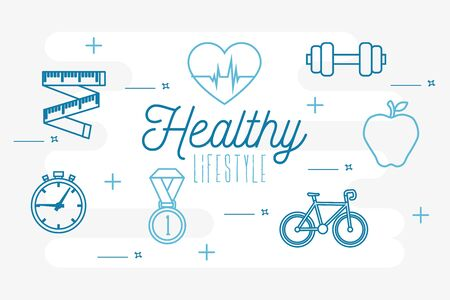 poster healthy lifestyle with set icons vector illustration design Stock Vector - 134753392