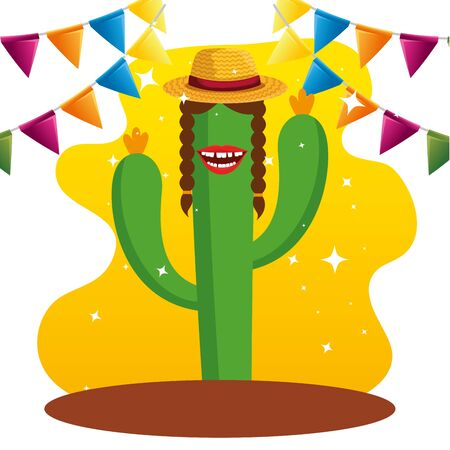 cactus plants wearing hat and party banner vector illustration Ilustração