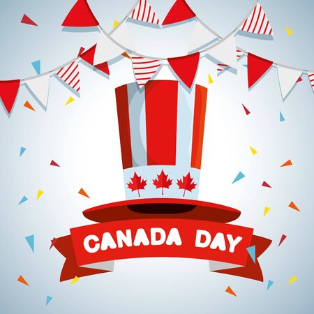 canada party banner with patriotic hat and ribbon vector illustration Ilustração