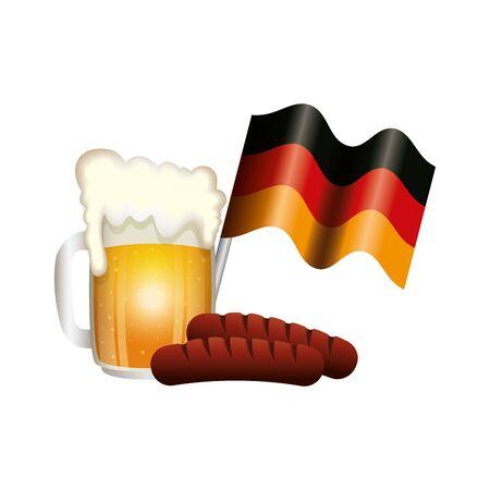 Oktoberfest beer and sausage design, Germany festival celebration europe landmark munich culture and party theme Vector illustration Foto de archivo - 134749918