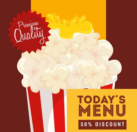 poster premium quality of popcorn fifty discount vector illustration design