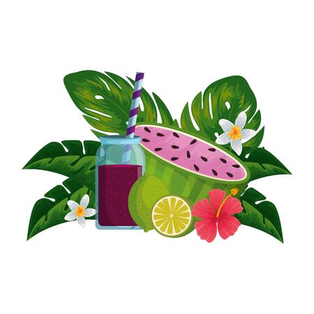 watermelon juice with pot and floral decoration vector illustration design