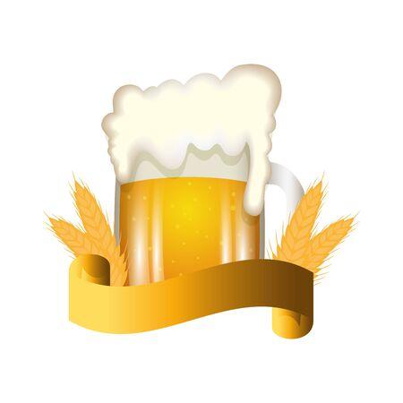 Beer mug design, Pub alcohol bar brewery drink ale and theme Vector illustration