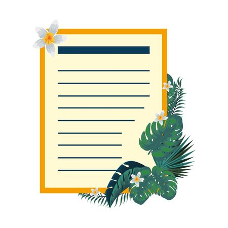 postcard with tropical flowers decoration vector illustration design 일러스트