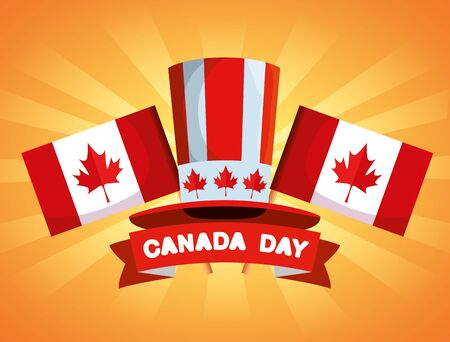 canada flag with patriotic hat and ribbon vector illustration Vettoriali
